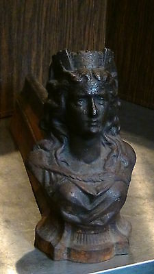 ANTIQUE FRENCH 1820c BRONZE FIGURALWOMAN BUST ANDIRON #1