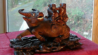 Antique Chinese Rosewood Hand Carved Large Statue Of Ox W/two Children On Back