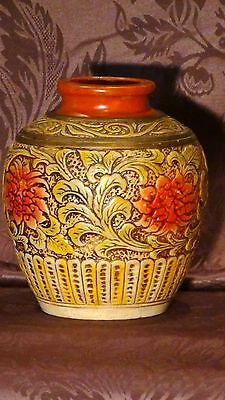 Antique Early 20C Japanese Pottery Carved Relief Floral Ornamental Vase