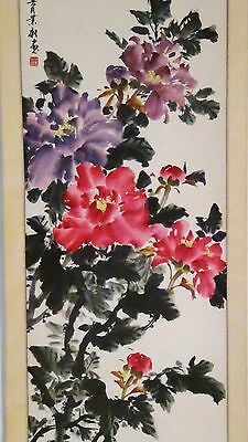 """Antique Early 20C Chinese Original Watercolor Scroll Painting """"peony Flowers"""""""