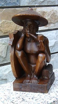 """Antique 19C Chinese Wood Hand Carved Statue Seated Man With Pipe 14""""H"""