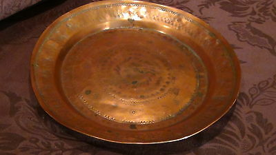 Antique 18C Islamic Arabic Copper  Ornamental Decorated Plate