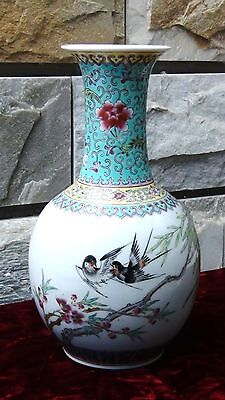 ANTIQUE 19C CHINESE FAMILLE ROSE BALUSTER PAINTED BIRDS VASE #1, signed