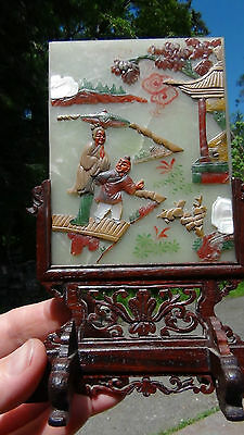 Antique Chinese Jade Carved Table Screen With The  Mop Inlay On Rosewood Stand