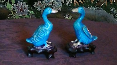 Pair Antique Chinese Porcelain Polichrome Miniature Turquise Glaze Ducks Statues