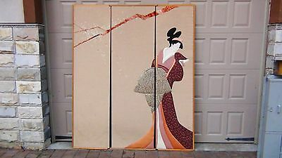 Japanese 3 Panels Floor Screen Silk,velvet ,fabric Aplique Of Geisha Woman