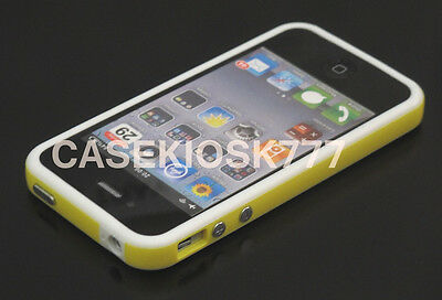 for iPhone 4 4s bumper case hard silicone yellow white and screen protectorfilm