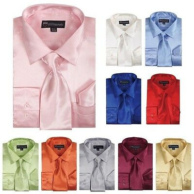 Men's Shiny Silky Satin Formal Dress Shirt w/ Tie and Hanky Set #08 Solid