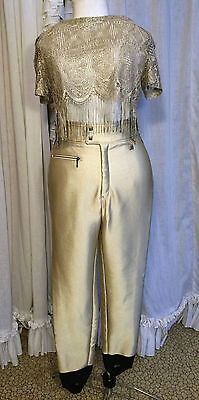 70s High Waisted Winter Gold Stretch Satin Fleece Lined Stirrup Disco Pants
