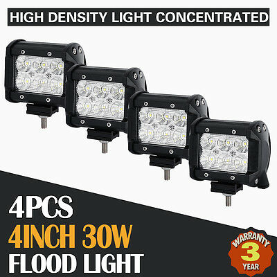 4X 4Inch 30W Cree Led Work Light Bar Flood Beam Offroad Driving Lamp Truck Atv