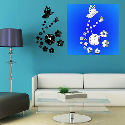 1PCS NEW Unique 3D DIY Butterfly Sticker Home Room Decor Mirror Wall Decal Clock
