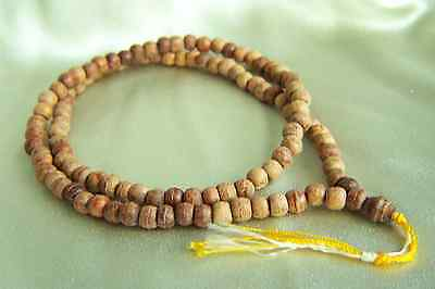 """Fabulous Asian Chinese Tibet Blessing Tree Wood Bead Mala Necklace 24"""" #3"""