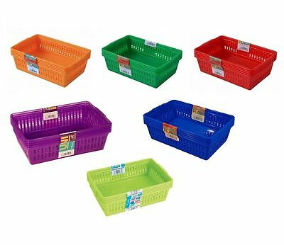 Set of 5 Small Plastic Handy Storage Baskets Study Home Office Various Colours