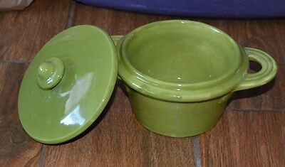 IL NODO CERAMICHE, HANDPAINTED, GREEN Covered Dish With Lid MADE IN ITALY
