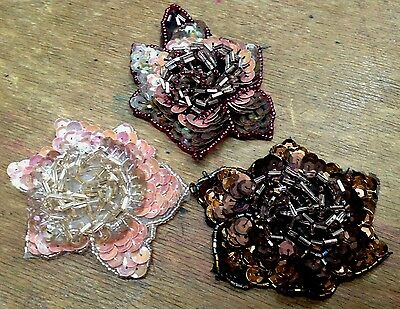 "APPLIQUE FLOWER 3-D Beads & Sequins 3"" Hand Sewn 1pc Jewelry Millinery Hair"