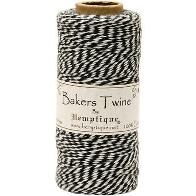 Hemptique Black and White Cotton Bakers Twine for Packaging, etc. - 410 Feet