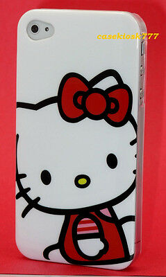 for iphone 4 4s hello kitty case skin hard white black w/ red bow and film \