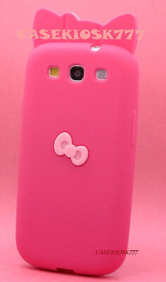 FIT SAMSUNG i9300 GALAXY S3 S III HOT PINK HELLO KITTY 3D  BOW SILICON SOFT CASE