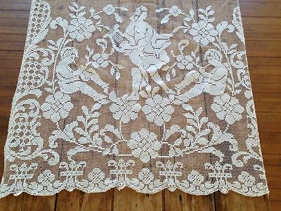 """Romantic 1920s French white cotton filet curtain. Three cupids. 38"""" x 70"""""""