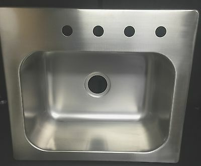 """Top Mount 25""""X 22""""X10"""" 4 Hole Drop In Stainless Steel Single Bowl Sink-Brand New"""