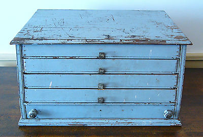 ANTIQUE  Wooden GENERAL STORE Spool 5 DRAWER Cabinet BOX Gray Paint