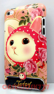 for iPod touch 4th 4 th 4g itouch case kitten cat kitty hot pink polka dot hard/