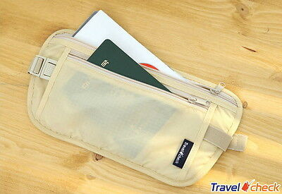 Travel Secure Passport Waist Pouch Card Ticket Money Belt Secret Wallet Beige