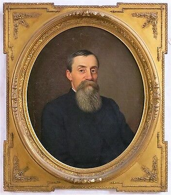 19TH CENTURY OIL ON CANVAS PORTRAIT OF A BEARDED M Lot 801