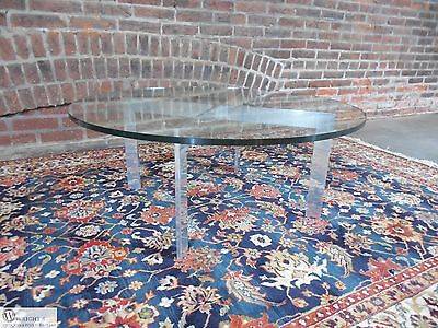 Paul Mayen Style Mid Century Modern Polished Aluminum Glass Top Cocktail Table