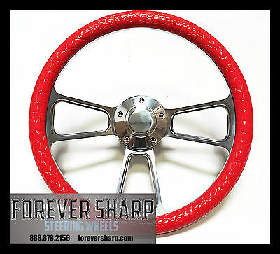 Horn and Installation Adapter Flame Boat Steering Wheel 14 Inch Aluminum With Red Vinyl Half Wrap