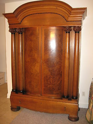 Large Antique Armoire Walnut w Black Walnut Doors Vernier Wardrobe Heavy