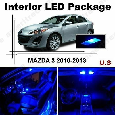 7 Piece blue LED interior conversion package kit and license plate lights NC1B