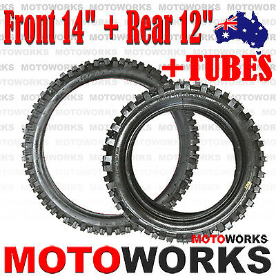 "60/100- 14"" Front 80/100 - 12"" inch Rear Back Tyre Tire TUBE PIT Trail Dirt bike"