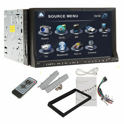 """Universal 7""""HD In Dash 2Din Car DVD MP3 Player Stereo BT Radio iPod TV LCD Touch"""