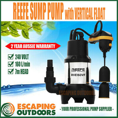 Reefe Submersible Dirty Water Sump Pump with Vertical Float Narrow Sites 155lpm