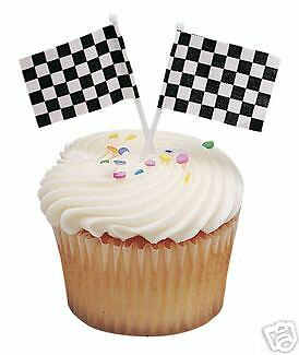 The CARS Nascar RACING Checkered Flag (24) CUPCAKE Topper Decoration Picks Pics