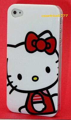 for iphone 4 4s hello kitty case skin hard white black w/ red bow & film /