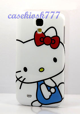 for Samsung galaxy i9500 S4 phone hello kitty case cover white blue red bow