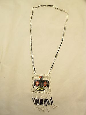 Bead work beaded necklace Native American art crafted Crow bird leather back