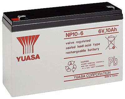YUASA NP10-6, 6V 10AH (as 12Ah) SEALED LEAD ACID RECHARGEABLE UPS BATTERY