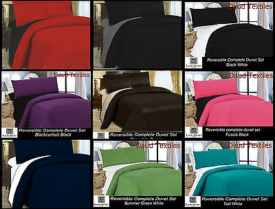 New King Size 4Pcs Reversible Duvet Cover ,fitted Sheet ,pillow Cover Bed Set