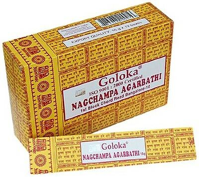 Goloka Nag Champa Incense Sticks 15 gm Approx 12-15 Per Box Multi Listing