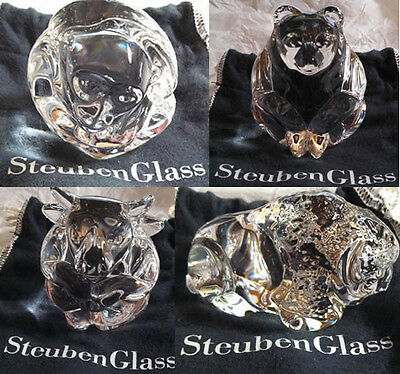 Set of Limited Edition Steuben Glass Hand Coolers - Bear Bull Bison Monkey MINT!