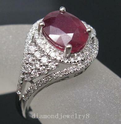 4.10ct Solid 14K White Gold Genuine Natural Blood Ruby Engagement Diamond Ring