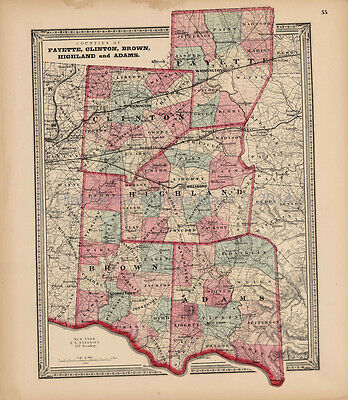 Fayette Clinton Brown County Ohio Antique Map Walling 1868 Original