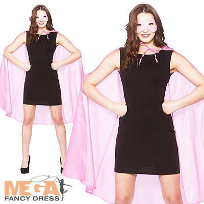 Pink Superhero Cape & Mask Ladies Fancy Dress Halloween Ladies Costume Accessory