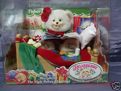NEW Fisher Price1999 Briarberry Bears Merryberry Night Before Christmas,Soo Cute