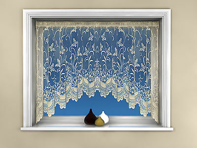 Quality Jardiniere New Butterfly Spring Floral Net Curtain Panel 18 Sizes Cream