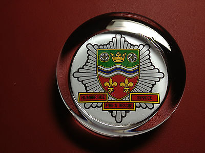 HUMBERSIDE FIRE & RESCUE SERVICE   70mm  GLASS PAPERWEIGHT