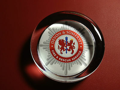 DEVON & SOMERSET  FIRE & RESCUE SERVICE   70mm  GLASS PAPERWEIGHT